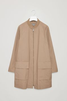 COS image 2 of Coat with ribbed neckline in Beige