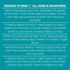 What was the closing song @BrownsBridge? Reason to Sing by All Sons & Daughters http://ow.ly/Amb46 pic.twitter.com/XP5Xra96r3