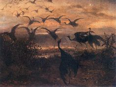 Józef Chełmoński | Odlot żurawi / Migration of cranes, 1871, oil on canvas, 41,5 x 57,5 cm, private collection