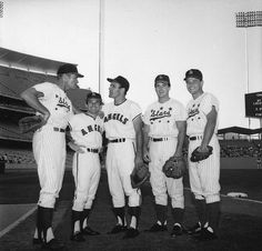 Chuck Connors, Ricky and David Nelson, Hollywood Stars/Albie Pearson, Jimmy Piersall, Angels//ca. 1964 at Dodger Stadium