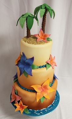 Tropical Beach Cake by Amanda Oakleaf Cakes, via Flickr