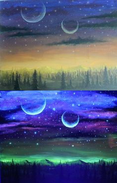 Both images are the same painting. The top is the acrylic painting viewed during daylight. The bottom, that same painting viewed under a black light. UV reactive paint was mixed with acrylics when it was painted. Video about it:...