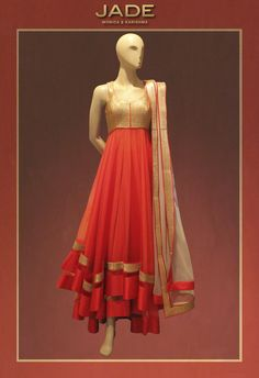 CHIC ALERT! Set The World Ablaze with this Fluid and Luxe Red JADE Anarkali!   #JADEbyMK #anarkali #indianwear #wedding