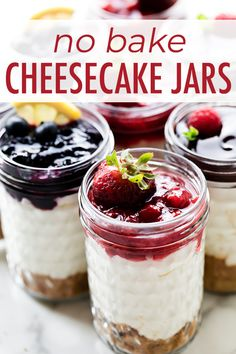 How to make easy creamy no bake cheesecakes in a jar! These individual dessert jars combine cheesecake filling, graham cracker crust, and strawberry sauce topping! No bake recipe on sallysbakingaddiction.com