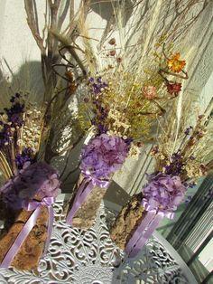Trio de flores secas lilas