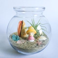 The Shroomin Series: Beach Terrarium Kit includes a bulb-shaped glass vessel, natural craft sand, an Ionantha air plant, a cone shell, two pieces of tumbled glass, a golden ring top cowrie shell, a small pink starfish, and yellow mushroom figurine. Tillandsia (a.k.a. air plants) do not