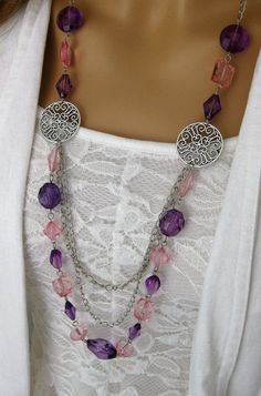 Long Purple Beaded Necklace Pink Beaded by RalstonOriginals