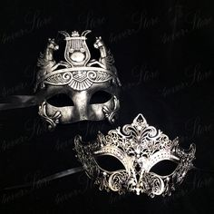 Phantom Masquerade Masks Platinum/Silver Themed by 4everstore