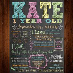 First Birthday Chalkboard Poster/Sign  digital  by SweetBeeCreates, $15.00
