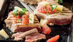Grilled tuna steaks with pineapple and citrus salsa #Grapefruit # ...