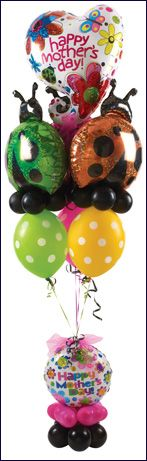 #445 Lady Bugs Hugs Mother's Day Bouquet - Every one loves cute little lady bugs and ladies who are moms will especially adore this sparkly, spring themed balloon gift on her own special holiday of recognition. #betallic www.betallic.com