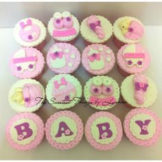 cupcakes baby shower niña cafe y rosa - Buscar con Google