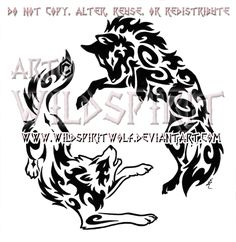 Yin Yang Aggressive Wolves Tribal Design by WildSpiritWolf.deviantart.com on @deviantART