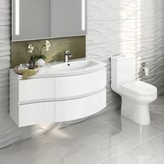 Cesar III Toilet & 1040mm Amelie Wall Hung Vanity Unit Set - Right Hand - Gloss White