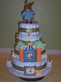 4-tier Peter Rabbit diaper cake