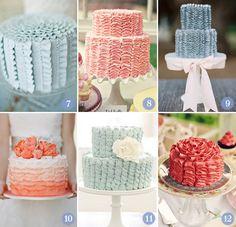 """cake love 2  7. Babados verticais: Tiny White Daisies   8. e 9. Um tipo de babado que dá vontade de comer   10. Babados com ombré – duas tendências em um só bolo   11. Babados """"suspirados"""": Sweet and Sauce Shop   12. Babados que formam quase uma flor no topo: Flickr"""