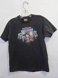 a6348903 A Boy's Vintage,Faded Black Short Sleeve Looney Tunes,HARLEY-DAVIDSON Wi  Dells T Shirt.L(12)