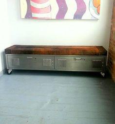 Vintage Steel Locker Storage Bench by ArtspaceIndustrial on Etsy, $1,045.00
