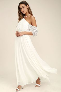 Lulus Exclusive! The Unmatched Beauty White Lace Off-the-Shoulder Maxi Dress is becoming an international phenomenon! A crochet lace off-the-shoulder flounce bodice falls from a halter neckline that ties through a loop at back. Fitted waist tops a full, woven maxi skirt. Hidden side zipper/clasp.