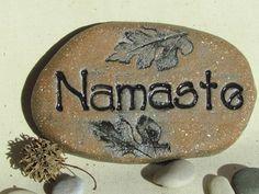 Namaste stone /  terracotta decorations / by Poemstones on Etsy, SOLD