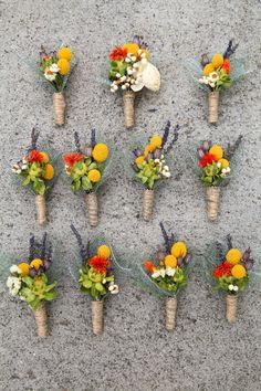 Dried Flowers Bouquets and Boutonnieres via Etsy.