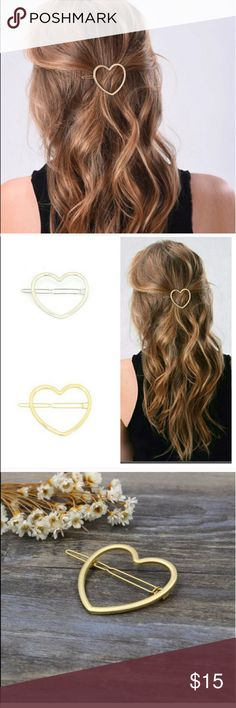"🚨1 LEFT🚨GOLD HEART HAIR BARRETTE 💗condition: new in package. Color: Gold.  Size is approximately 2"". Includes dust bag to save it.  💗Smoke free home/Pet hair free 💗No trades, No returns. No modeling  💗 If you want to resell the item, yes, you are allowed to use my photos. 💗Shipping next day. Beautiful package! 💗ALL ITEMS ARE OWNED BY ME. NOT FROM THRIFT STORES 💗All transactions video recorded to ensure quality.  💗Ask all questions before buying Accessories Hair Accessories"