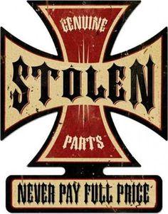 Vintage-Retro Stolen Parts Iron Cross Metal-Tin Sign