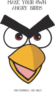 I made this free red angry bird face to print and cut out for your parties.