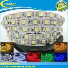 LED strip 5050 12V flexible light 60 leds/m5m/lot Warm WhiteBlueGreenRedYellowRGB