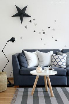 somw more stars in our living room - I simply used wrapping paper for the littel stars