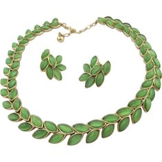 Trifari Green Cabochon Laurel Leaf Necklace and Earring Set - Offered by Ruby Lane shop 2Hearts Jewelry & Accessories