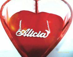 ♥ Collar de plata 950 baniado #jewerly #namenecklace #alicia #mothersday
