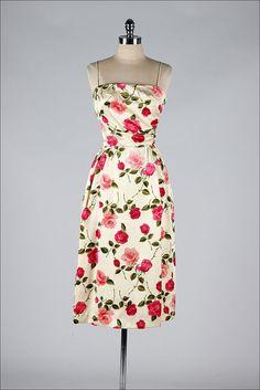 vintage 1950s satin print dress