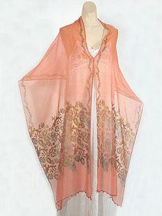 """Oh to LOUNGE in this... Gallenga hand stenciled silk chiffon shawl, c.1920. Label: """"Maria Monaci Gallenga"""" is stenciled in one corner."""
