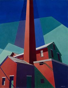 Charles Sheeler (American, Ballardvale, Oil on canvas, 61 x cm. Addison Gallery of American Art, Andover. Charles Sheeler, Charles Demuth, Dulwich Picture Gallery, Francis Picabia, Graffiti, Art For Art Sake, Urban Landscape, Landscape Art, American Artists