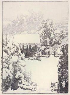 Snow in Nakazato  by Hiroshi Yoshida, 1928