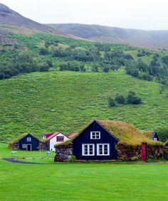 Traditional Icelandic Grass Roof House Skogar Folk Museum, Iceland.