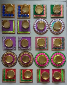 Fancy diyas Cd Crafts, Recycled Crafts, Hobbies And Crafts, Diwali Decoration Items, Diya Decoration Ideas, Diwali Diya, Diwali Craft, Art N Craft, Craft Work