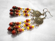 Goldstone Sunshine Earrings by juta230 on Etsy, $25.50