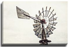 Home Decor. Windmill Country Home Decor. Art Print, Canvas Art or Plaque. Gray Rustic Home Decor. Rustic home decor featuring an old Aermotor Windmill. Photographed in Grapevine, Texas.