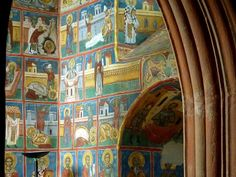 Murals of the lives of saints at Voronet monastery (Bucovina, Romania) Carpathian Mountains, Sistine Chapel, Like A Local, Once In A Lifetime, Nature Crafts, Future Travel, Kirchen, World Heritage Sites, Folklore
