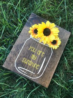 You are my sunshine wooden wall decor hand painted sign mason jar sunflower decor country rustic nursery baby decor home decor Sunflower Nursery, Sunflower Room, Sunflower Wall Decor, Sunflower Decorations, Sunflower Crafts, Sunflower Kitchen Decor, Wall Decorations, Wooden Wall Decor, Wooden Walls