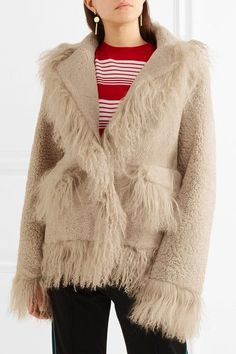 Light-brown shearling Concealed snap fastenings through front Fabric1: 100% shearling (Lamb); fabric2: 100% shearling (Sheep); lining: 100% polyester Specialist clean Imported