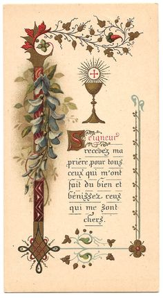 Antique French Illuminated Holy Prayer Card by VintagePaperAttic