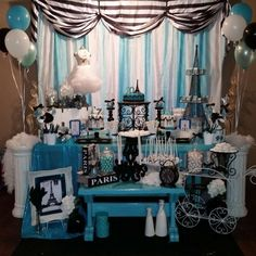 Blue Paris birthday party! See more party ideas at CatchMyParty.com!