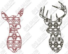 Aztec Deer Doe and Buck Tribal Pattern Custom DIY Cutting File Set in SVG, EPS, DXF, JPEG, and PNG Format