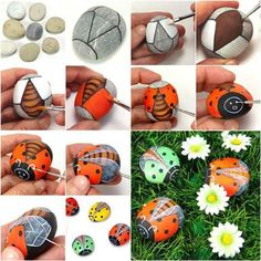 Painted Pebble Ladybugs | Cute and Easy Golf Ball Ladybugs to Rock Your Garden