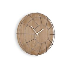 Wooden clock with metal cage lens to protect the hands. DESIGN INSPIRATION: Inspired by vintage gym clock. Growing up, I remember my school gym clock was surro Wooden Clock, Wooden Walls, Cage, Design3000, Tabletop Clocks, Cool Clocks, Unique Clocks, Displays, Wall Clock Design