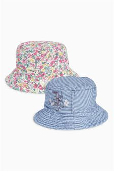 Stripe And Floral Embellished Bunny Fisherman Hats Two Pack (Younger Girls)