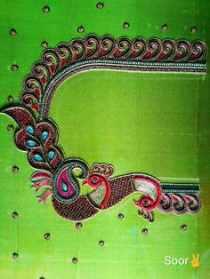 Handmade Embroidery Designs, Peacock Embroidery Designs, Hand Embroidery Design Patterns, Embroidery Monogram Fonts, Peacock Blouse Designs, Simple Blouse Designs, Blouse Designs Silk, Peacock Design, Best Embroidery Machine
